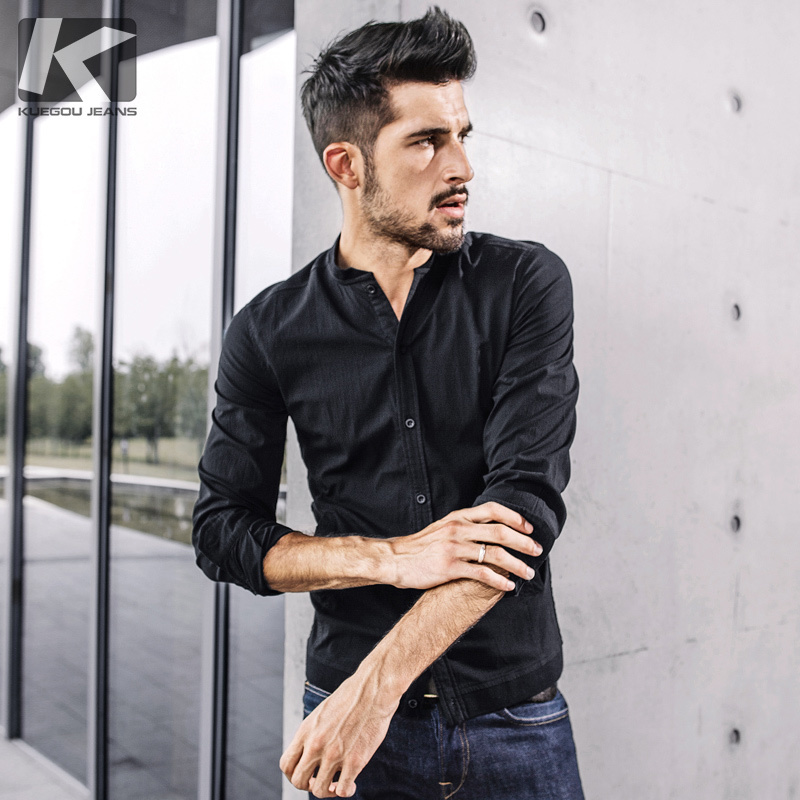 KUEGOU New Spring Mens Casual Shirts Solid Black Color With Pocket For Man's Long Sleeve Slim Fit Wear Male Brand Blouse 0791-in Casual Shirts from Men's Clothing    1