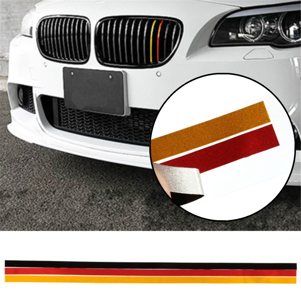German Flag M-Sport Grille Grill Vinyl Strip Sticker Decal For BMW /M3 /M5 /E46 /E90