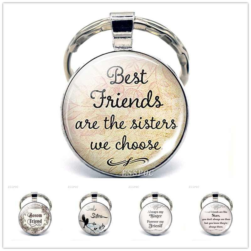 Лучшие друзья сестры мы выбираем, кулон дружбы украшение с цитатой стеклянный выпуклый брелок подарок для друга