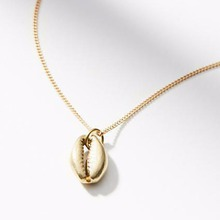 Boho Ethnic Style Gold Silver Plated Pendants Necklace Women Beach Sea Shell Cowrie Chain Creative Jewelry Fashion Gifts недорого
