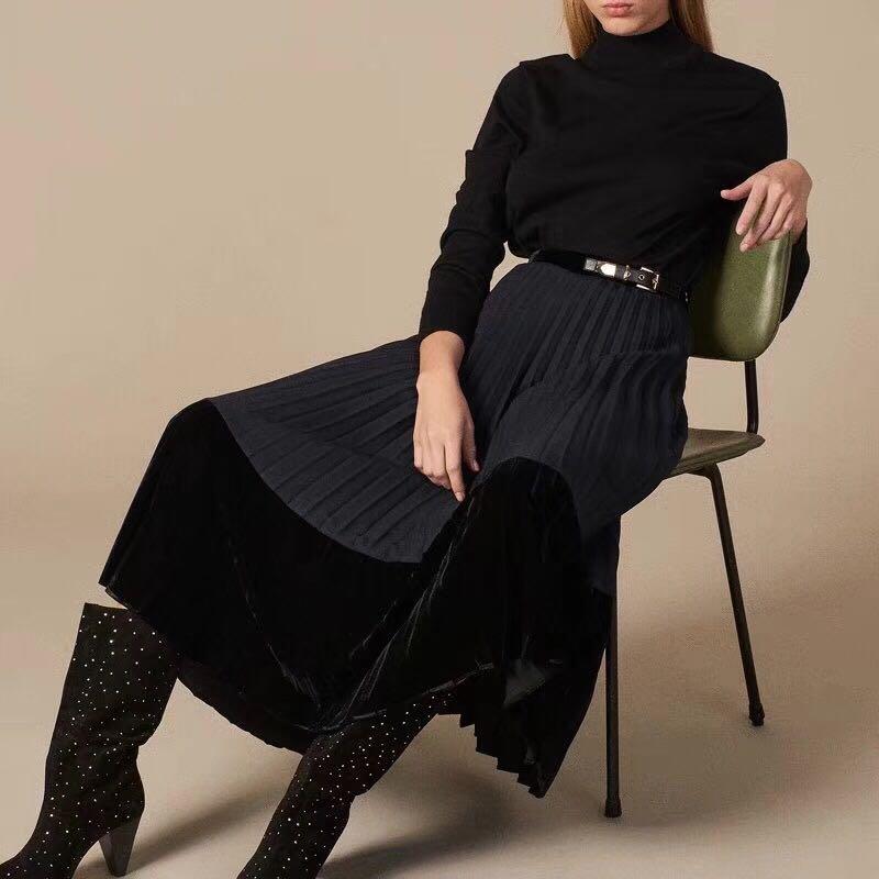 Blue Contrast Velvet Pleated Midi Skirt 2 019ss New In Spring Women Female Belted Skirt