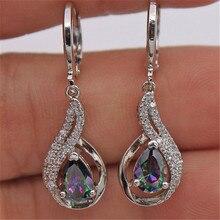 Regenbogen Topas Stein Diamant Ohrringe frauen Joyas silber farbe 925 schmuck Brincos Bizuteria Edelstein Ohrring Orecchini