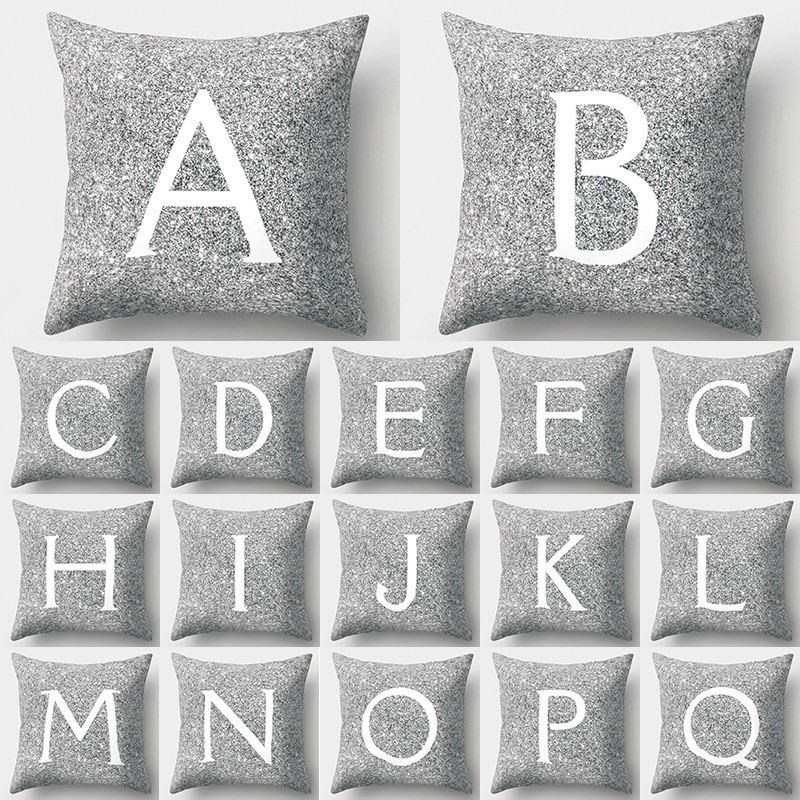 1Pcs Silver Cushion Cover With Letters Printing Polyester Throw Pillowcase Home Decoration 45*45cm Decorative Pillow Cover 40804