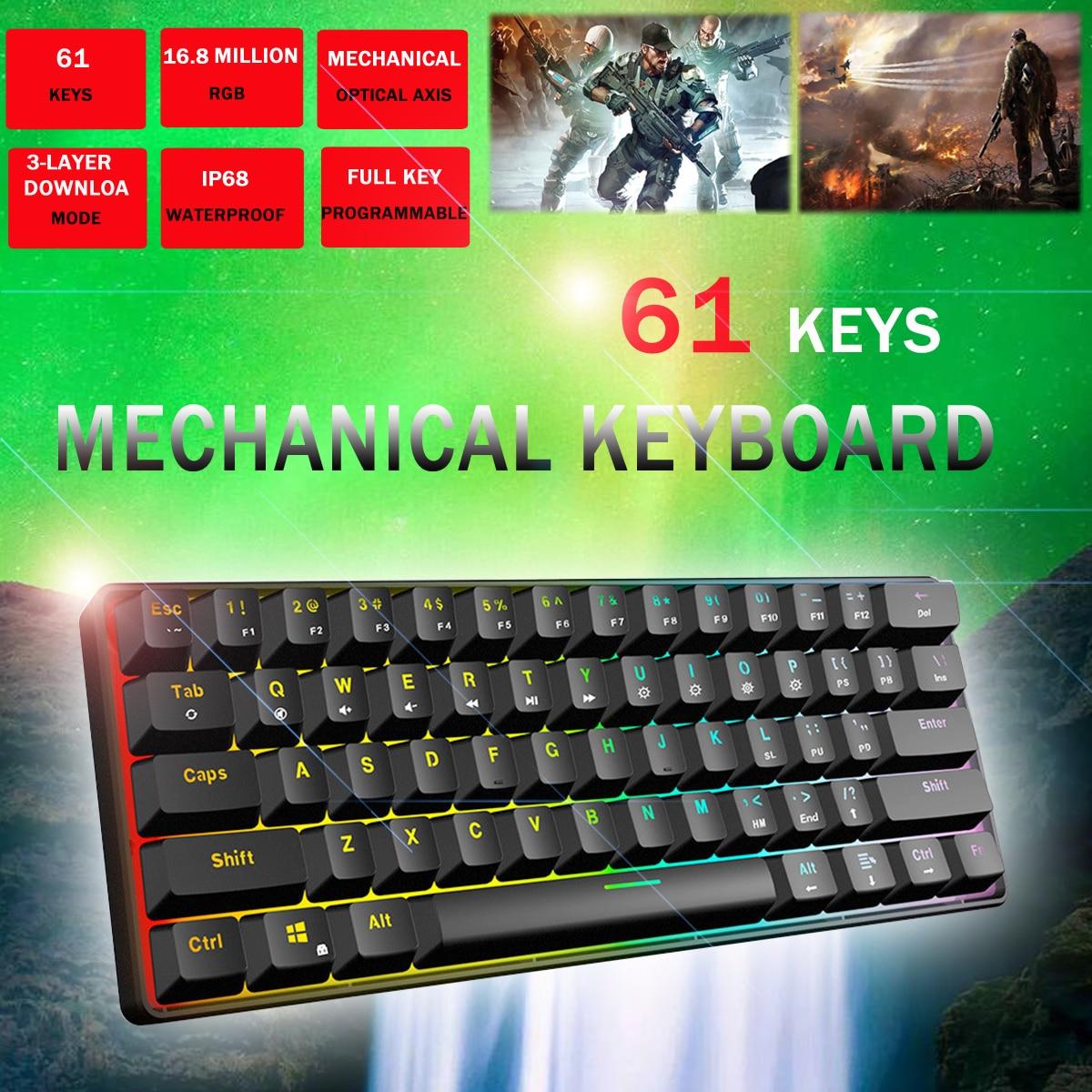 Gateron Switch jeu RGB clavier mécanique axe optique peut être inséré câble axe mécanique 61 jeux de clés