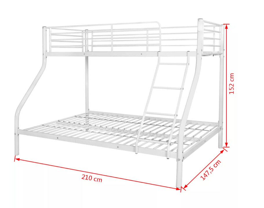 VidaXL Bunk Bed Frame For Kids 200x140 / 200x90cm Metal White High Quality Bed Suitable For Bedroom 242994