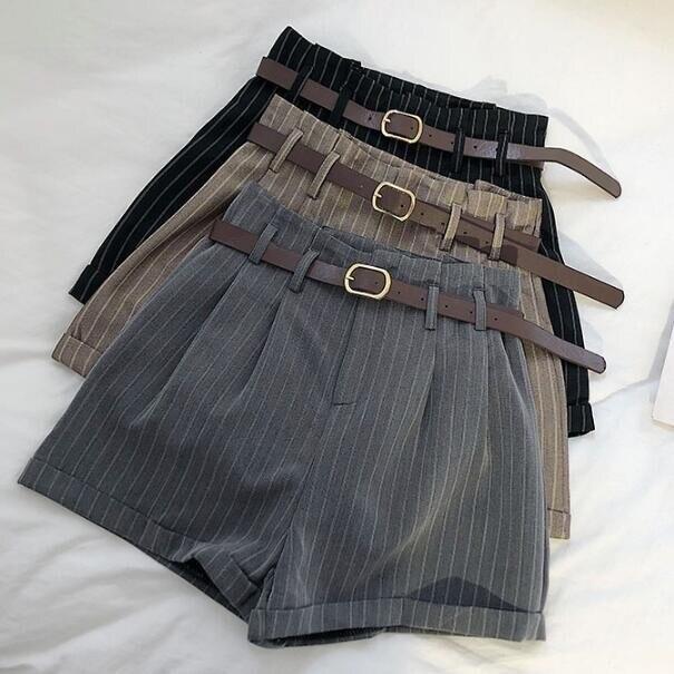 Korean Fashion Women High Waist Striped Shorts Office Lady Working Elegant Shorts With Belt Summer Shorts