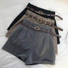 50608a5ddd Coreano de moda de Mujeres de cintura alta pantalones cortos a rayas  oficina trabajo elegante Shorts con cinturón pantalones cor.