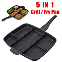 5 In 1 Multifunction Non Stick Divided Grill Frying Pan Cooking Pan Induction Household Kitchen Tools Cookware Accessories