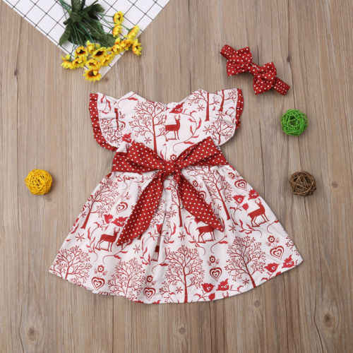 Xmas Toddler Kids Baby Girls Clothes Cotton Deer Bowknot Pageant Party Formal Dress