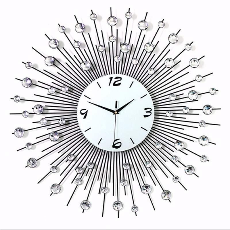 2019 luxe diamant horloge murale fer Art métal cristal 3D grande horloge murale ronde montre miroir diamant suspendus horloges décor à la maison - 2
