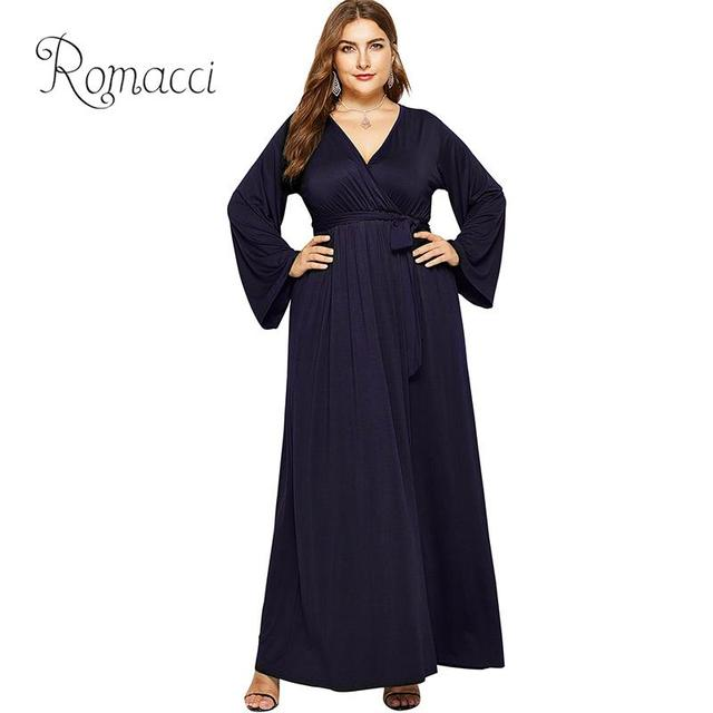 ed24eaf83425b Women Plus Size Long Dress Deep V Neck Long Bell Sleeves High Waist Solid  Color Elegant Ladies Loose Casual Party Maxi Dress NEW