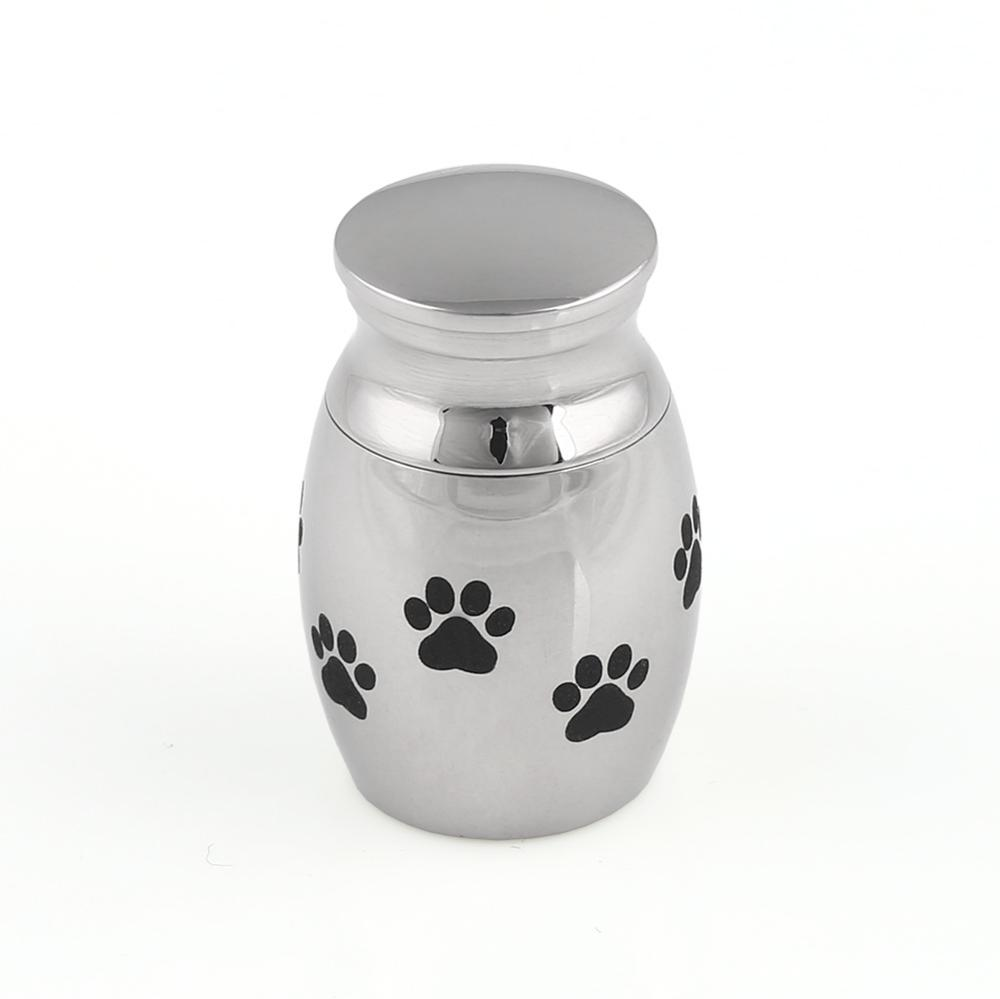 Mini Pet Urn Cremation Ashes Dog Paws Polished Stainless Steel Keepsake Silver