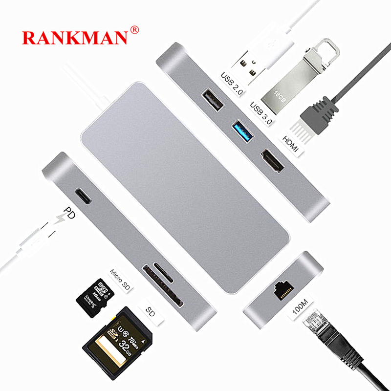 Rankman Type C HUB to USB3.0 HDMI RJ45 Ethernet USB2.0 Adapter SD/TF Card Reader USB-C HUB PD Charging for MacBook Samsung 7 in 1 usb c type c hub to hdmi sd tf card reader usb 3 0 rj45 pd charging adapter for macbook samsung galaxy usb c hub