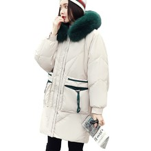 цена Green Large Fur Collar Hooded 90% White Duck Down Jacket Fashion Long Paragraph Parka Winter Jacket Women Warm Feather Jacket