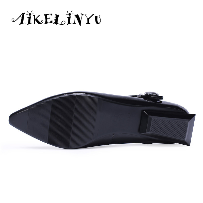 AIKELINYU New Fashion Low heel Women Pumps Spring Heteromorphic Heel Pointed End Comfortable White Lady Office Pumps Women Shoes in Women 39 s Pumps from Shoes