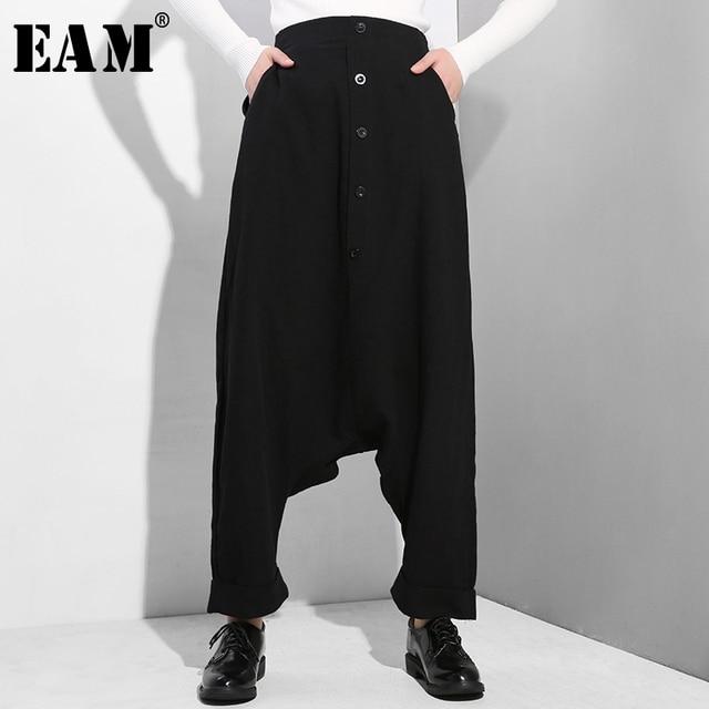 [EAM] 2020 New Spring Autumn High Elastic Waist Black Button Split Joint Thin Loose Cross pants Women Trousers Fashion Tide YG25