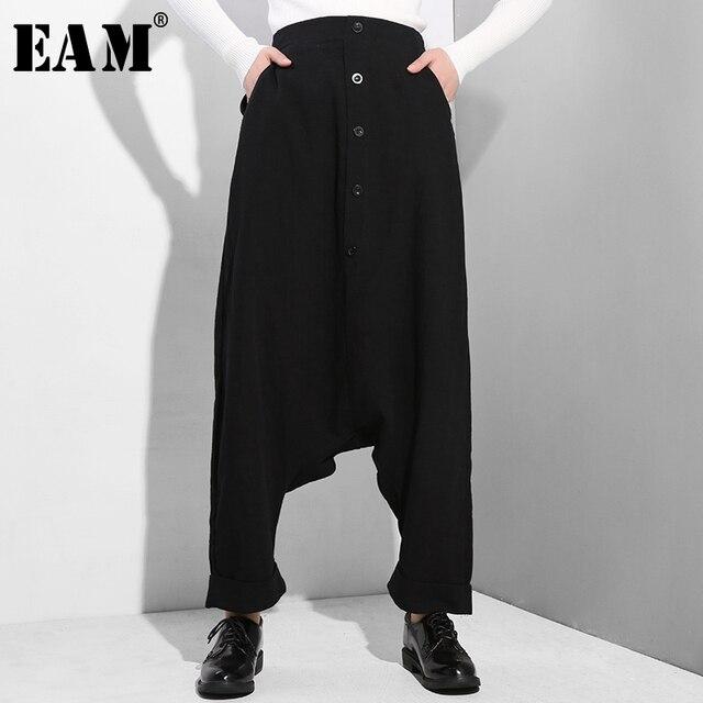 [EAM] جديد ربيع خريف 2020 عالي المرونة الخصر الأسود زر انقسام مشترك رقيقة فضفاضة عبر السراويل النساء السراويل المد الموضة YG25