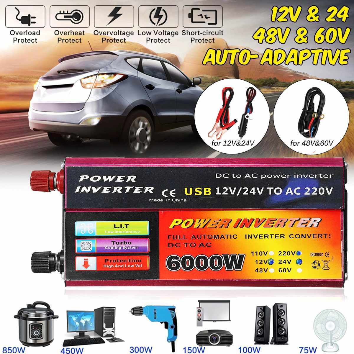 Solar Inverter 12V 220V 1000W 6000W Pe ak Voltage Converter Transformer DC 12V&24V 48V&60V To AC 110V/220V Auto Adapt InversorSolar Inverter 12V 220V 1000W 6000W Pe ak Voltage Converter Transformer DC 12V&24V 48V&60V To AC 110V/220V Auto Adapt Inversor