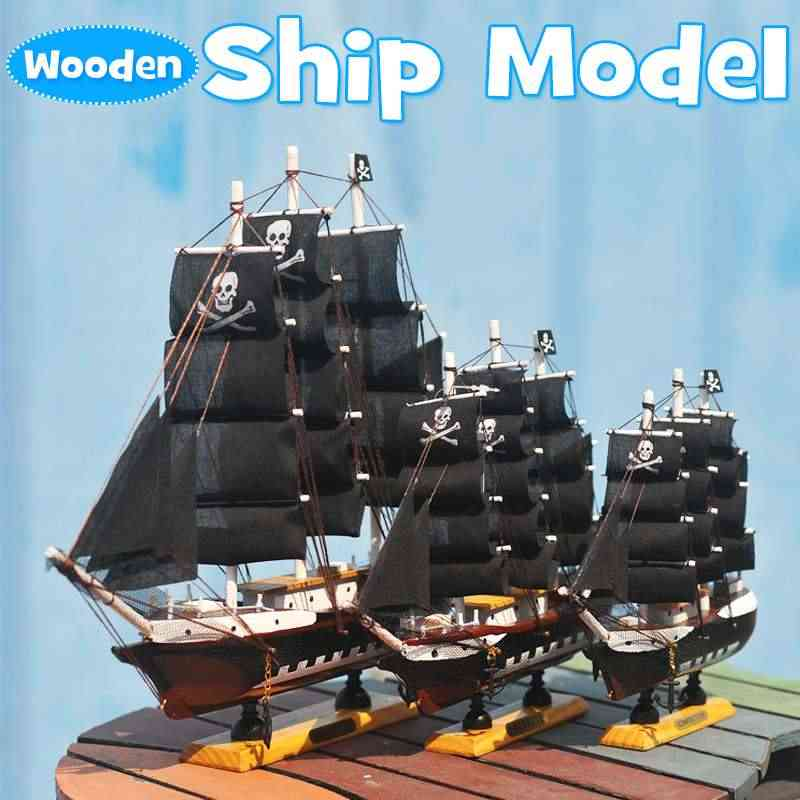 Cuteacc Diy Pirate Ship Model Assembling Building Kits Wooden Sailboat Toys Sailing Model Assembled Wooden Kit Kids Toys Gift