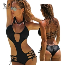 цена на Bandage Halter Sexy Swimwears Women Beadeau Cut Out Strappy Monokini Trikini Sport Suit One Piece Swimsuit Beach Wear Biquinis