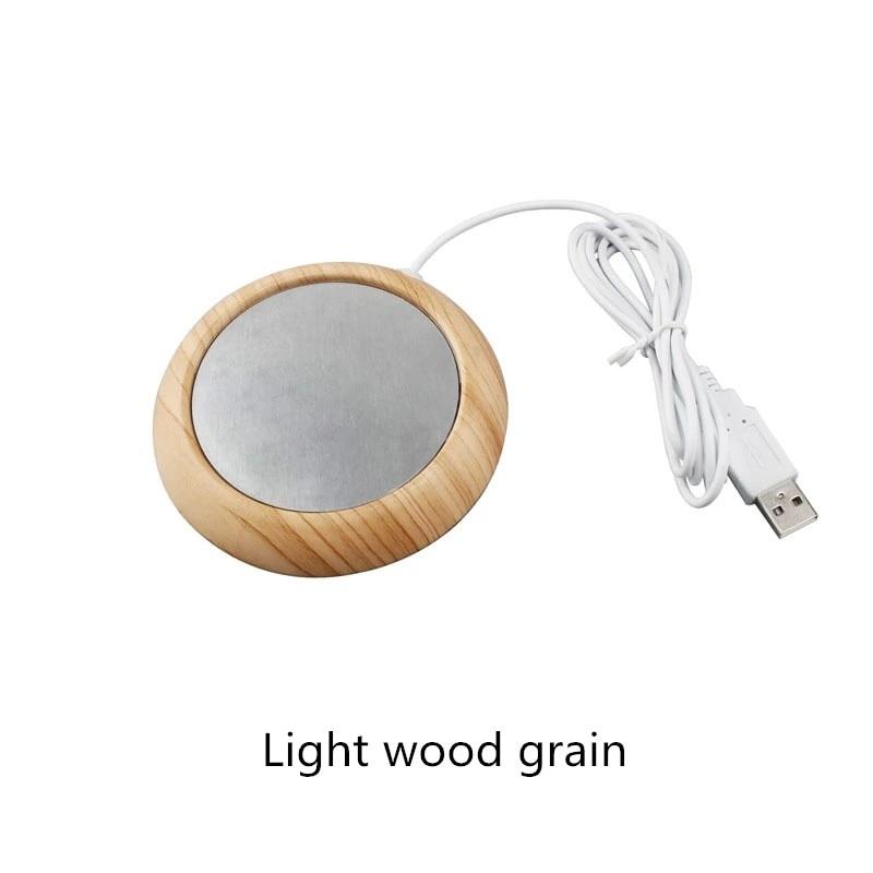 Protable USB Wood Grain Cup Warmer Heat Beverage Mug Mat Keep Drink Warm Heater Mugs Coaster