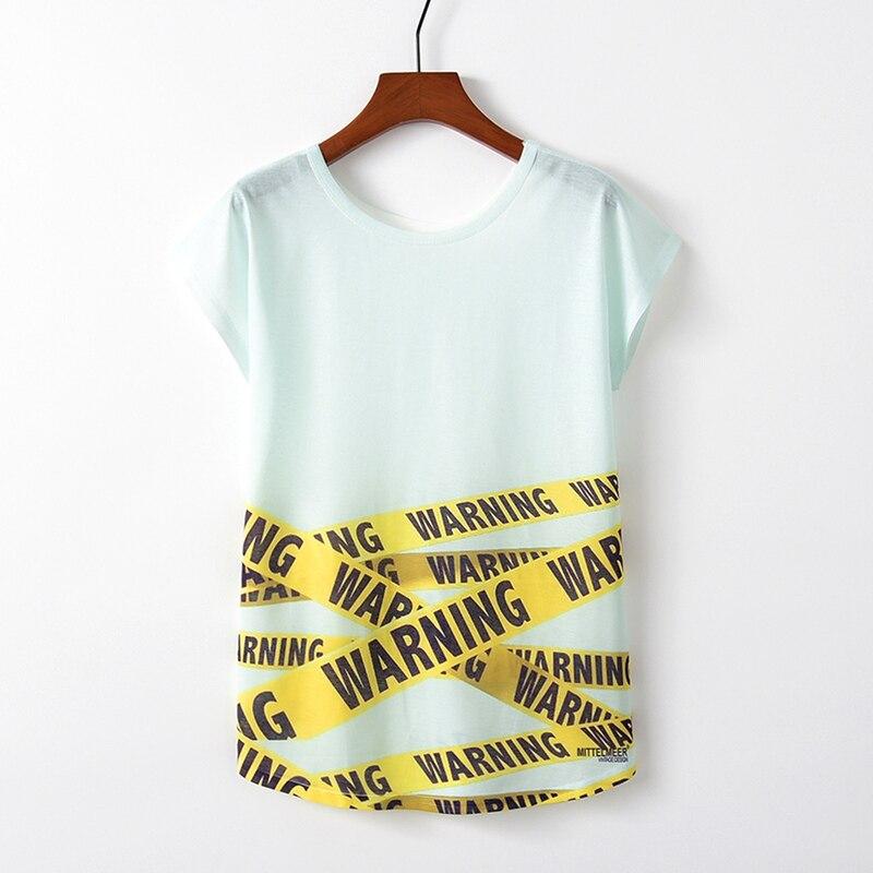 KaiTingu Spring Summer Women T Shirt Novelty Harajuku Kawaii Cute Style Warning Print T-shirt New Short Sleeve Tops Size M L XL