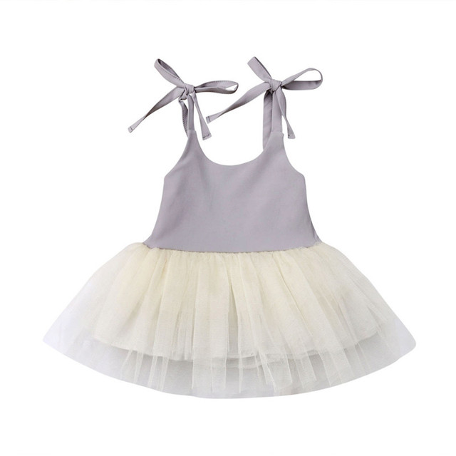 96380db387aee US $5.36 21% OFF|Summer Kids Baby Girls Strappy Dress Lace Tulle Party  Pageant Dresses Sleeveless Lace up Patchwork Sundress Girl Mini Dress 1  6Y-in ...