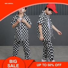 Two Piece Boys Plaid Set Fashionable Clothes For Teenager Children Shirt And Pant Suits Outfits