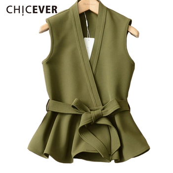 CHICEVER 2018 Autumn Waistcoat For Women Female Vest Lace Up Ruffles Slim Sleeveless Plus Size Women's Vest Coat Fashion Korean