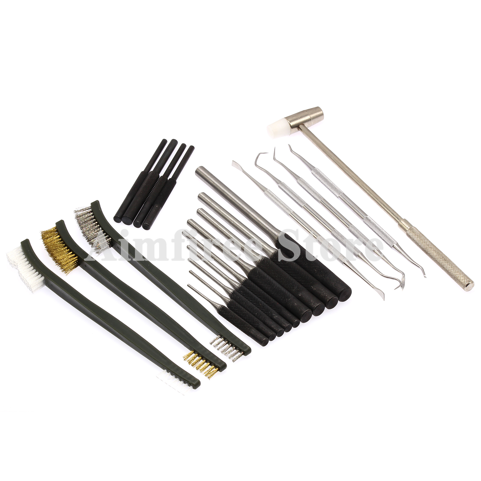 13pcs Roll Pin Starter Punch Set 4pcs Stainless Steel Picks Cleaning Brush Mallet Hammer For Gunsmith