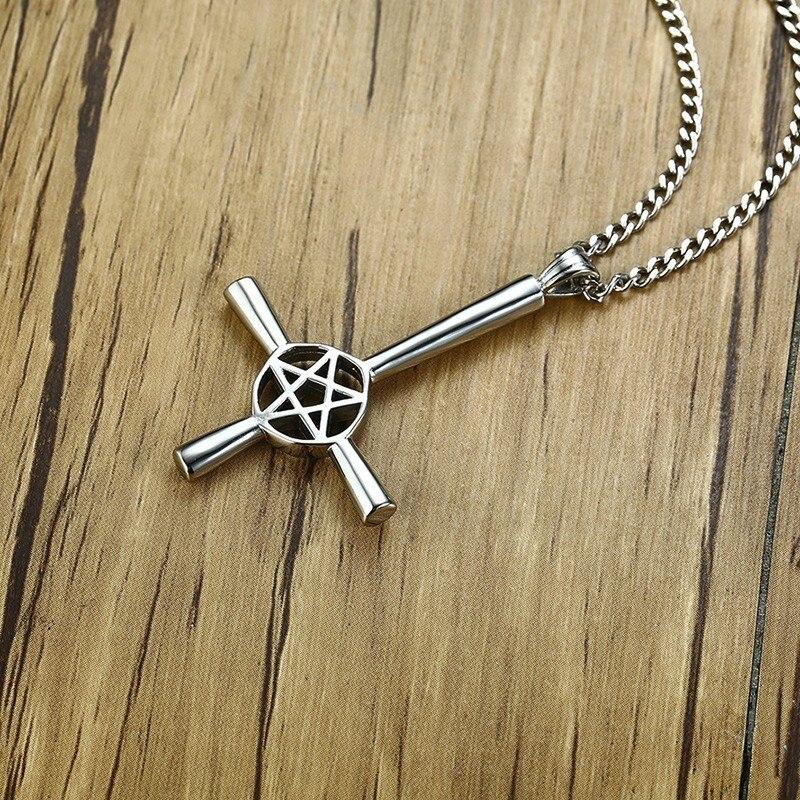 Inverted Cross Pentagram Star Pendant Necklace for Men Stainless Steel Lucifer Satan Male Jewelry with 24 inch in Pendant Necklaces from Jewelry Accessories