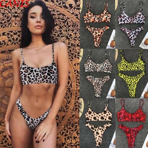 Leopard Print Halter-Top Padded Thong Bikini 1