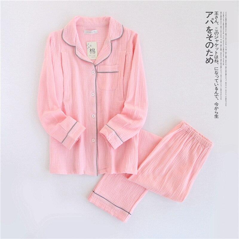 Image 2 - 100% Cotton Crepe Long sleeved Breast Feeding Pajamas Solid Pijama Mujer Summer Plus Size Pijamas Loungewear Sleepwear Home Set-in Pajama Sets from Underwear & Sleepwears
