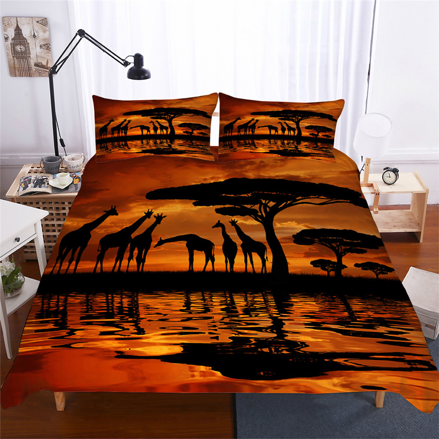 Image 1 - Bedding Set 3D Printed Duvet Cover Bed Set Giraffe Home Textiles for Adults Lifelike Bedclothes with Pillowcase #CJL03-in Bedding Sets from Home & Garden
