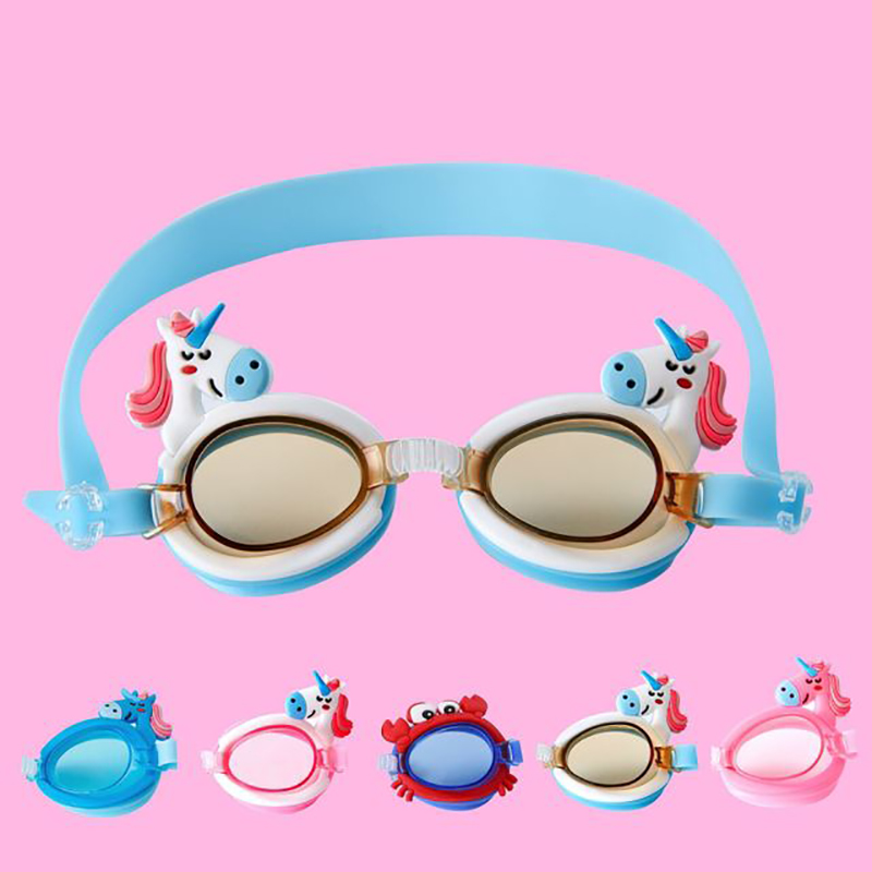 Cute Unicorn Shape Children Kids Silicone Transparent Swim Goggles Waterproof Eyewear Anti-Fog Glasses For Pools Swimming