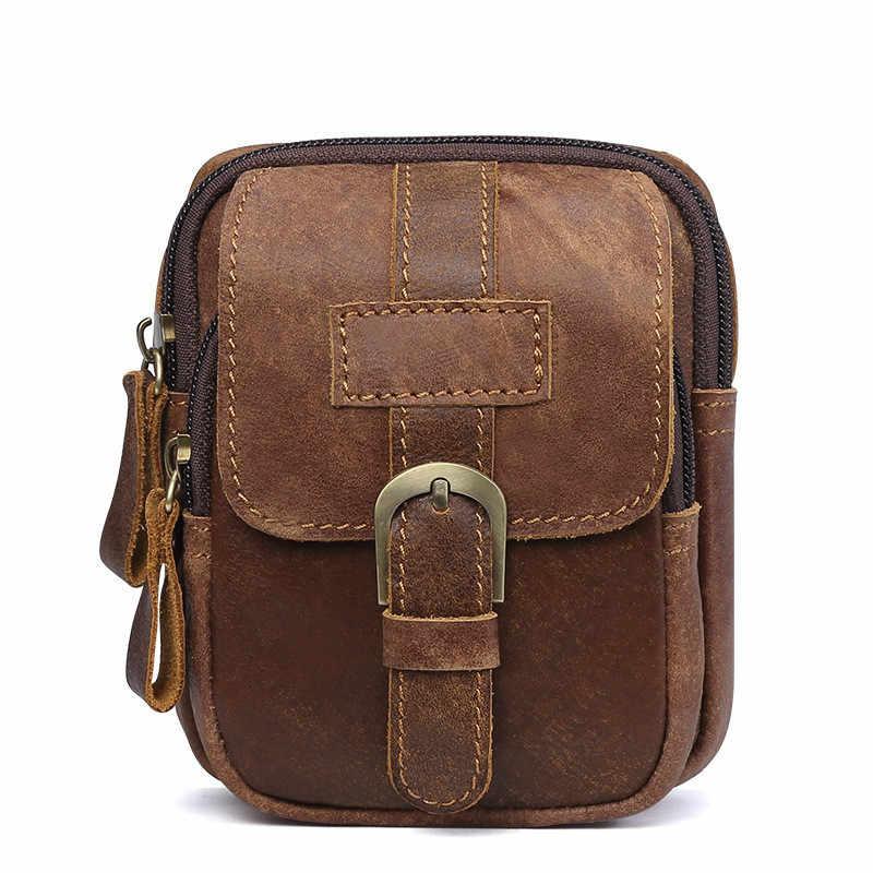 Pria Kulit Asli Tas Pinggang Tas Sel/Saku Ponsel S713-40 Sabuk Bum Kantong Pack Vintage Hip Tas Perjalanan pinggang Pack