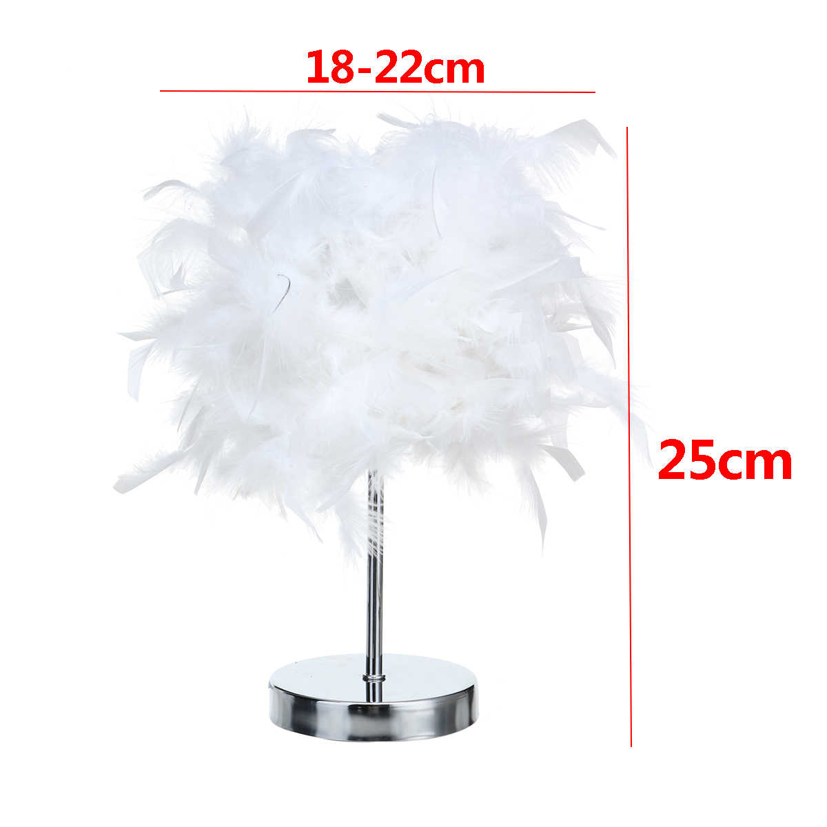 Feather Shade Metal Table Lamp 220V Bedside Desk Vintage Night Light Christmas Decor Soft Vintage Bedroom Study Room White