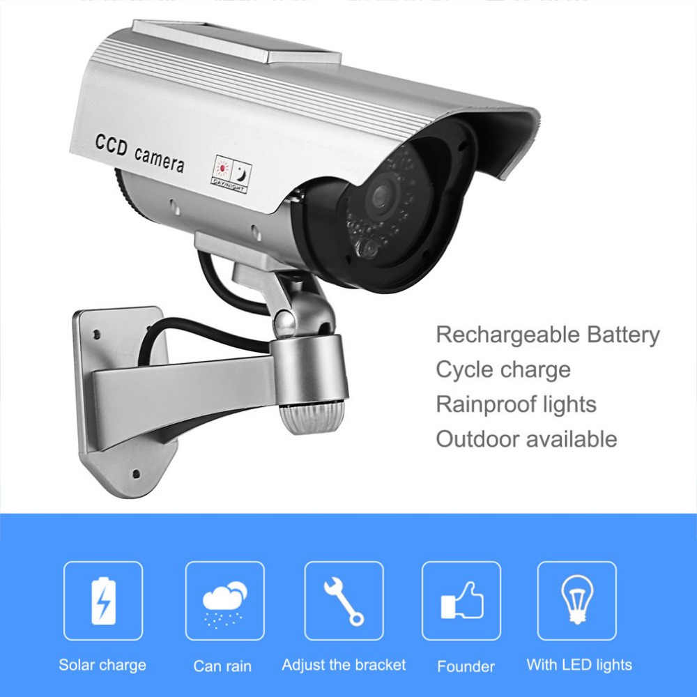 Dummy Camera Solar Battery Powered Flicker Blink LED Fake Indoor Outdoor Surveillance Security Camera Bullet CCTV Camera