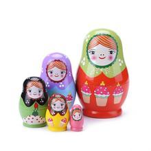 Backen Farbe Mädchen Holz Russian Nesting Matryoshka Puppen Set Kinder DIY Kunst Handwerk Nesting Russische Puppe Spielzeug Kinder Malerei Puppe