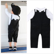 3M-3T Pudcoco 2019 Boy Girl Kids Shirt Blouse + Strap Denim Jeans Romper Cute Outfit Baby Gentleman Clothes 2pcs(China)