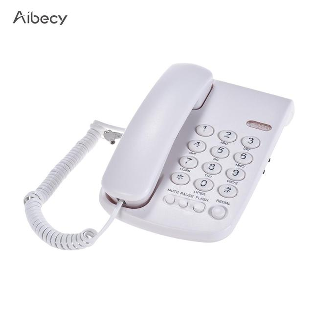 Portable Corded Telephone Phone Pause/ Redial/ Flash/ Mute Mechanical Lock Wall Mountable Base Handset (Only for UK)