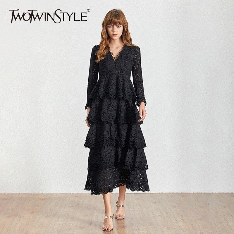Twotwinstyle 여름 v 목 긴 소매 중공 미디 여성 드레스 프릴 높은 허리 라인 여성 드레스 패션 새로운 2019-에서드레스부터 여성 의류 의  그룹 1