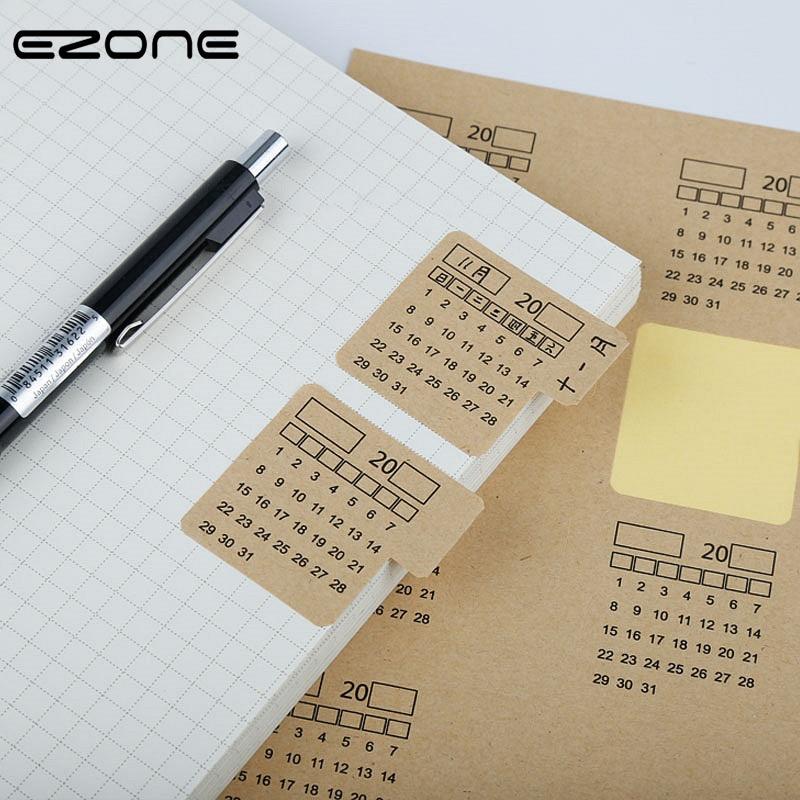EZONE 2Sheets Adhesive Calendar Stickers 2019 Kraft Paper Handwritten Calendar Notebook Index Label Sticker Bookmarks Stationery