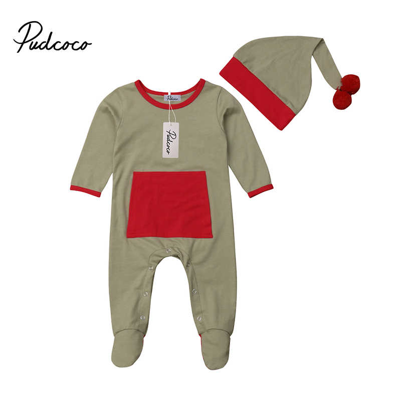95342a3c8fb7 Pudccoo Infant Baby Boy Girl Christmas Elf Coverall One-piece Jumpsuit  Footies Hat Fall Winter