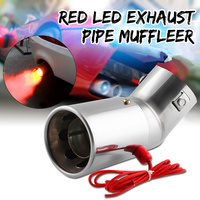 Universal 30 63mm Car Muffler Exhaust Pipe Bend/Straight Tail Rear Throat Spitfire Flaming LED Red Light Stainless steel