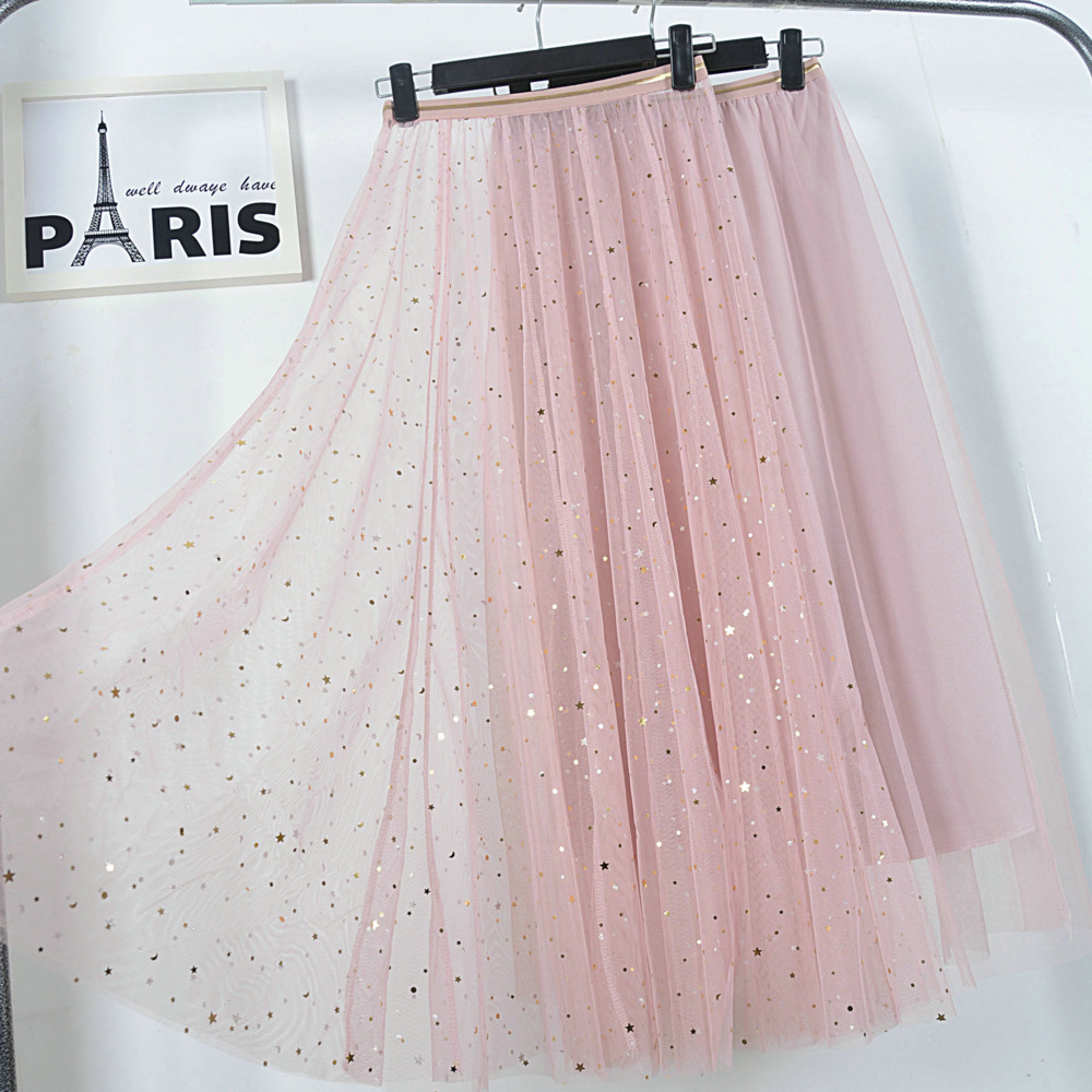 VITIANA Women Lace Pleated 2 Pieces Skirts 2019 Spring Summer Female Casual Beach Stars Black Sweet Party Pleated Long Skirt Price $21.59