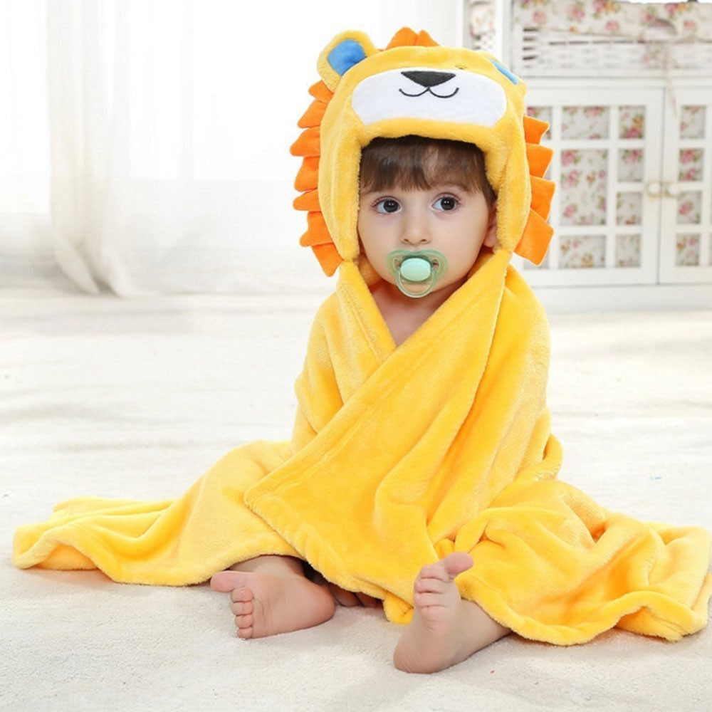 Soft Cartoon Hooded Baby Bathrobe Cute Animal Babies Blanket Kids Bathrobe Toddler Baby Bath Towel Fleece Receiving Blanket
