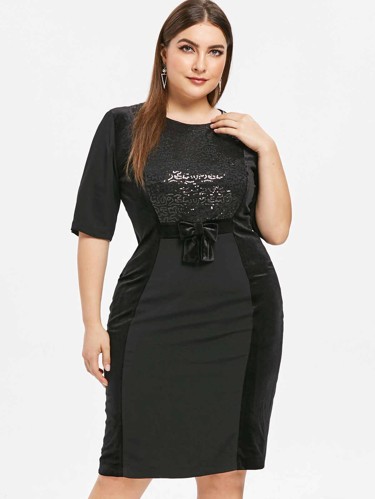 Wipalo Для Женщин Половина рукава блесток плюс Размеры 6XL облегающее платье по колено с бантиком, украшенные облегающее, для клуба, для вечеринки платье Vestidos