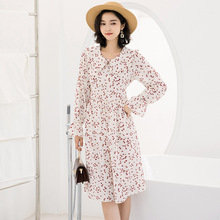 French retro dress female 2019 summer new arrival spring and temperament high-end loose print mujer G506