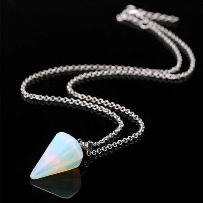 Амулет Красивые вечерние маленькие размеры рейки для женщин Регулируемый Серебряный с натуральным камнем 1 шт. кулон ожерелье медитация Кристалл шестиугольный